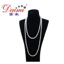 Top Quality Pearl Necklace 7-8mm Genuine Pearl White Sweater Chain For Women Pearl Jewelry(China (Mainland))
