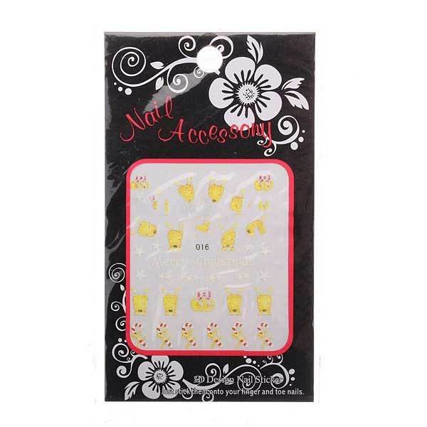 BottleNeck Cheap 5pcs Xmas Christmas 3D Nail Art Stickers Foil Tips Decals Wrap Gift(China (Mainland))
