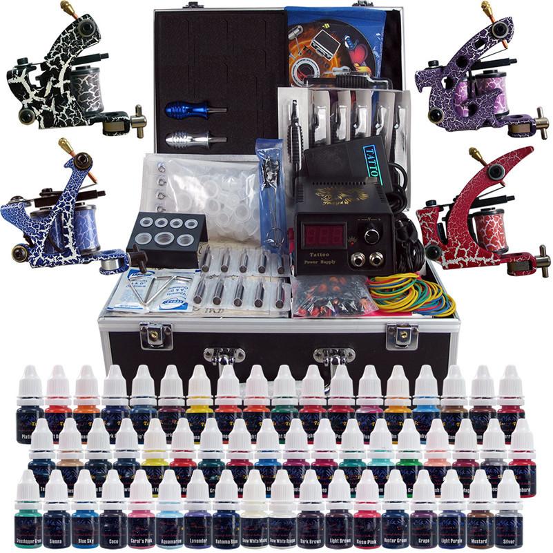Фотография Complete Tattoo Kit 4PCS Coil Machine Gun 54 Color Immortal Inks Power Supply Needles Grips Tips