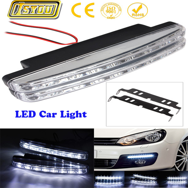 Free shipping Super White 8 LED Daytime Running Light DRL LED waterproof  car fog lights 12V DC Head Lamp
