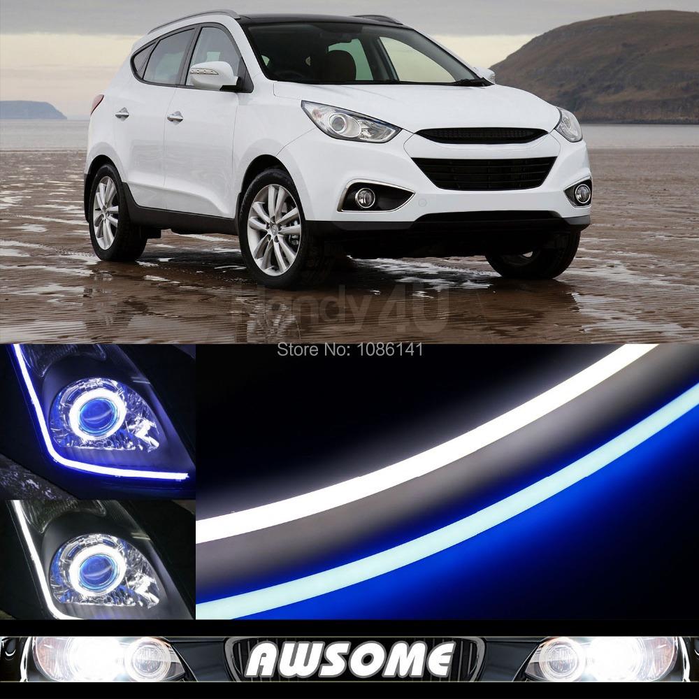 2x 60cm DRL Flexible LED Tube Strip Style Car Auto Headlight Light Blue/White Switchback For Acura CL MDX RDX RL TL TSX ZDX<br><br>Aliexpress