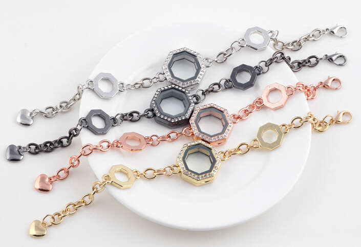 10PCS/lot 4Colors Geometric Floating Locket Bracelet Alloy Rhinestones Magnetic Glass Locket Bangle For Women<br><br>Aliexpress