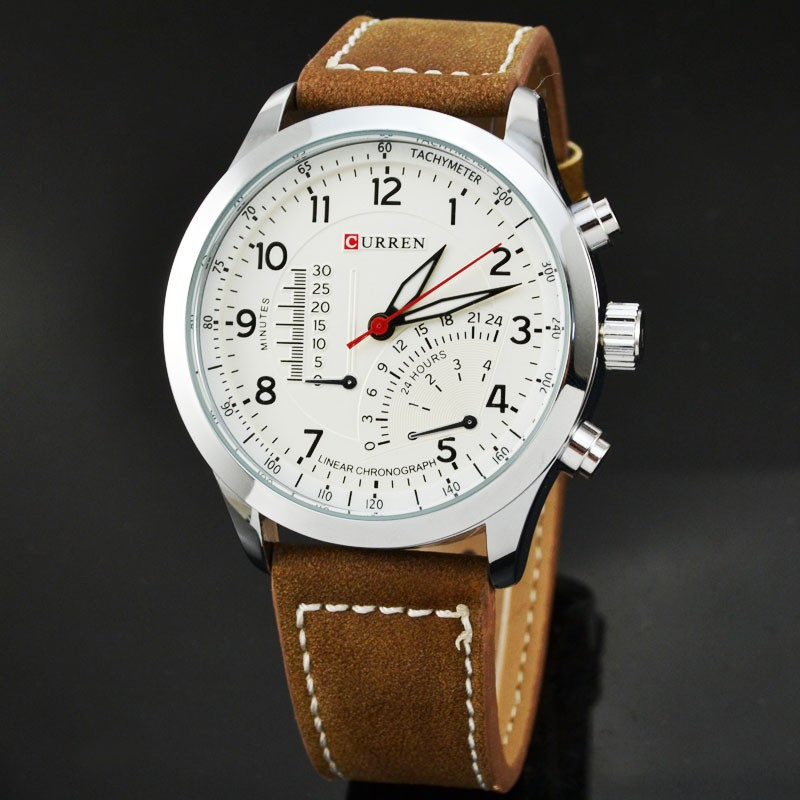 curren 8152 mens brown leather silver black
