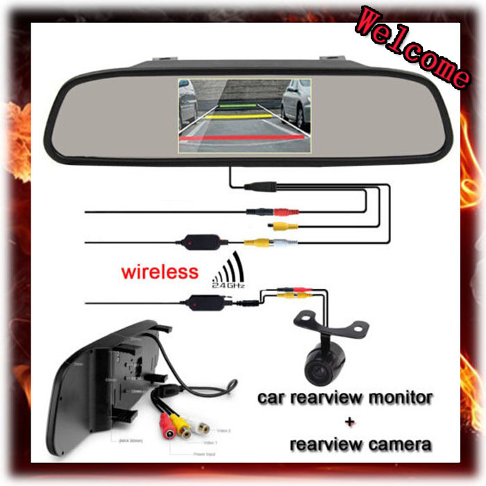 4.3 TFT Car/SUV Auto Reverse Rear View Parking Monitor + Car Wireless Backup CCD Camera night vision ,Free Shipping<br><br>Aliexpress