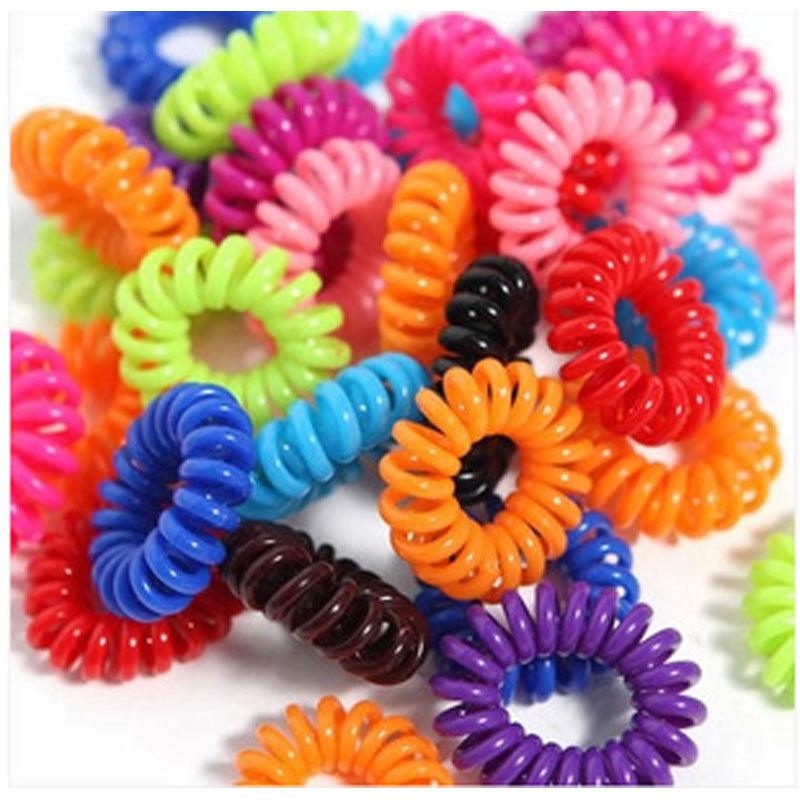 10pcs Candy Color Telephone Cord kids Girl's Hair Ties Head band Hair Strap Elastic Hair Bands Hair Accessories(China (Mainland))