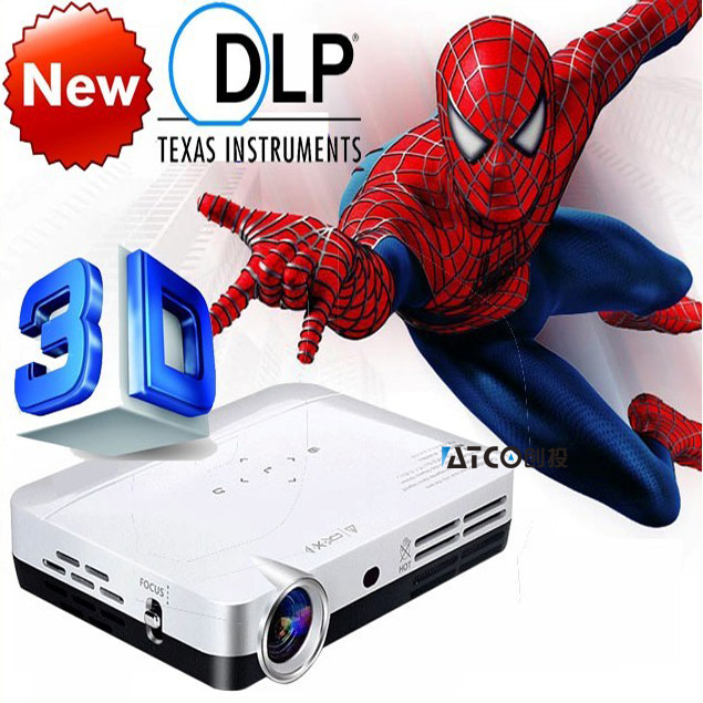 Best 3000Lumens mini projector led full hd 1080p Perfect 2D to 3D convert Support Blue Ray portable Pico Dlp Projectors proektor(China (Mainland))