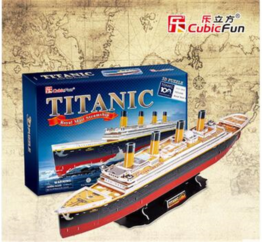 Cubic Fun 3D Paper Puzzle Titanic Ship Models T4011h Adult Child Toys(China (Mainland))