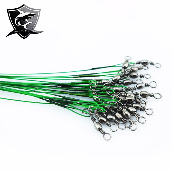 Hot 72Picecs/Lot 15/25/30CM Leader Wire Fishing Trace Lure Line Steel Interlock Snap Shooting Tip with Spinner Swivel Accessory(China (Mainland))