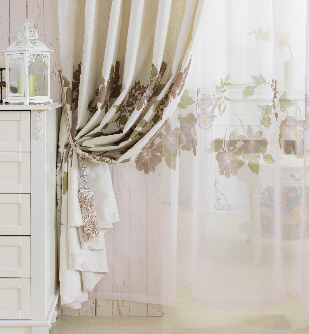 Floral modern design semi-blackout drape linen curtain customized window curtains(China (Mainland))