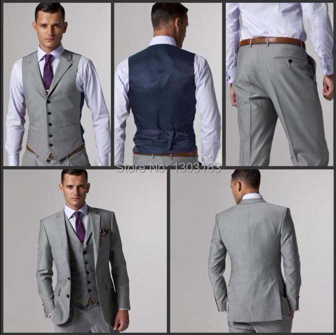Side Slit Two Buttons Light Grey Groom Tuxedos Best Man Notch Lapel Groomsmen Men Wedding Suits Bridegroom Jacket+Pants+Tie+VestОдежда и ак�е��уары<br><br><br>Aliexpress