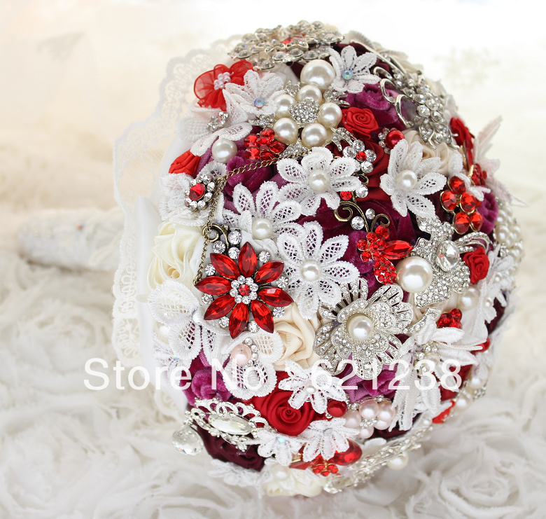 Aliexpress Buy 8 Inch Wine Red Bridal Bouquet Handmade Rose Brooches Jewelry Wedding