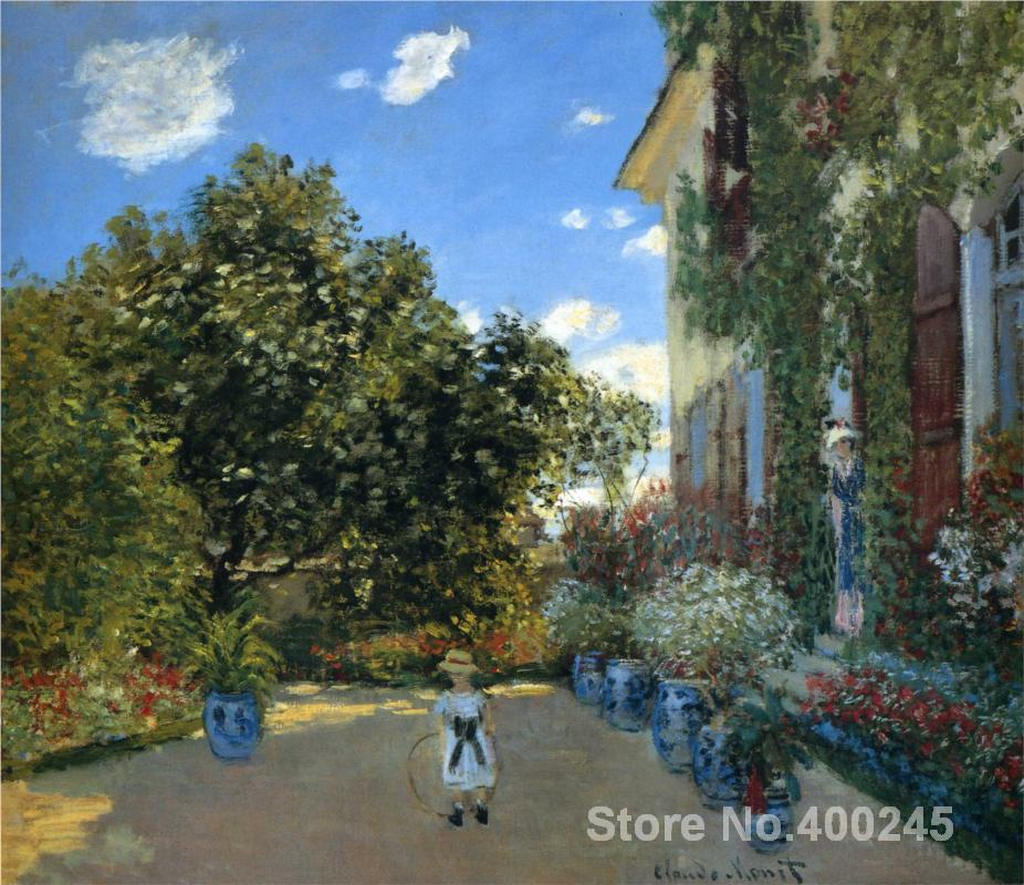 The Artists House at Argenteuil-Claude Monet painting for sale,oil on canvas,Hand-painted,High quality(China (Mainland))