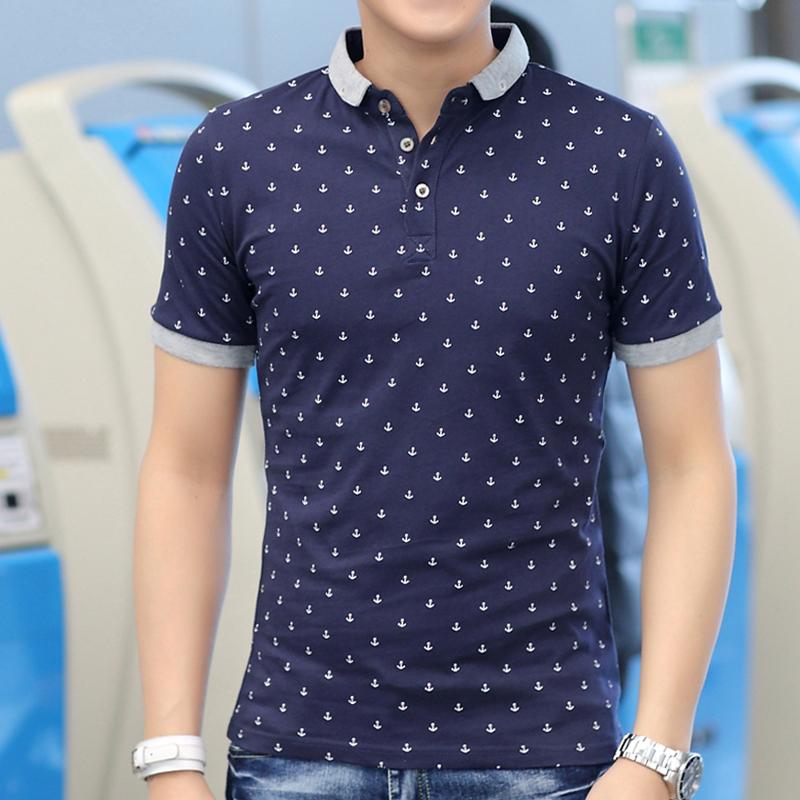 Men 39 s t shirt lapel summer half sleeve cotton polo shirt for Full sleeve polo t shirts