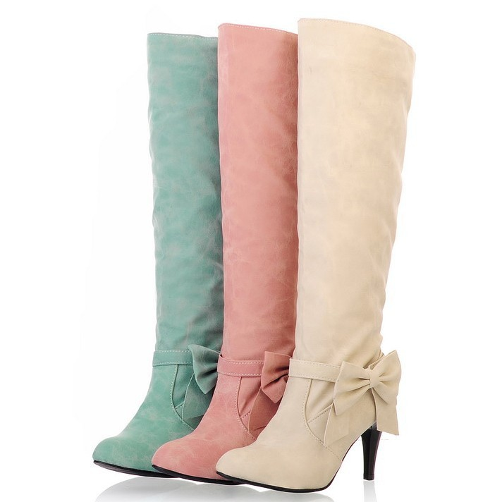 ENMAYER 2013 new stylish winter lady casual boots 3 colors knees bow knight big size 34-45