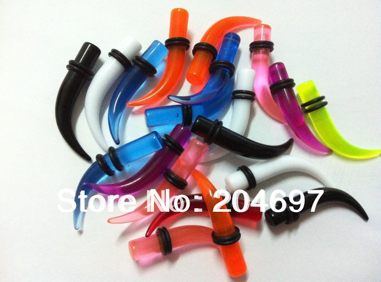 Colorful Transparent Acrylic Ear Expander Ear taper Stretchers Earring Curved Ear Plugs UV Piercing Body Jewelry Mix 120pcs/lot