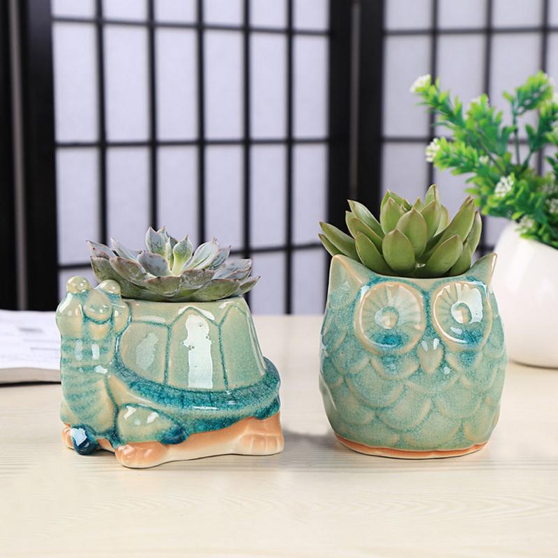 Creative Mini Cartoon Animal Ceramic Succulents Pots By Hand Ice Crack Owl And Turtle Shape Optional(China (Mainland))
