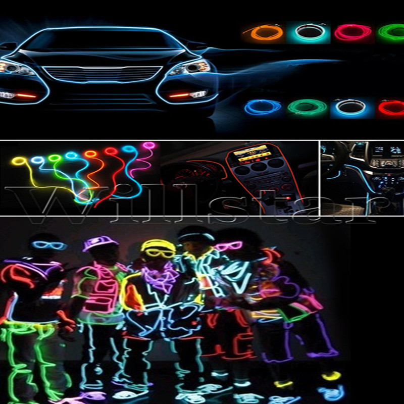 SD 5M DIY Decoration Auto Car Interior LED EL Wire Rope Tube Neon Light Line 10 Colors + Output Connector Modification Refit(China (Mainland))