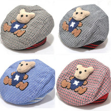 2016 New Fashion Baby Hat Animal Kids Hat Bear Cartoon Beret Baby Cap Tartan Design Children Headdress