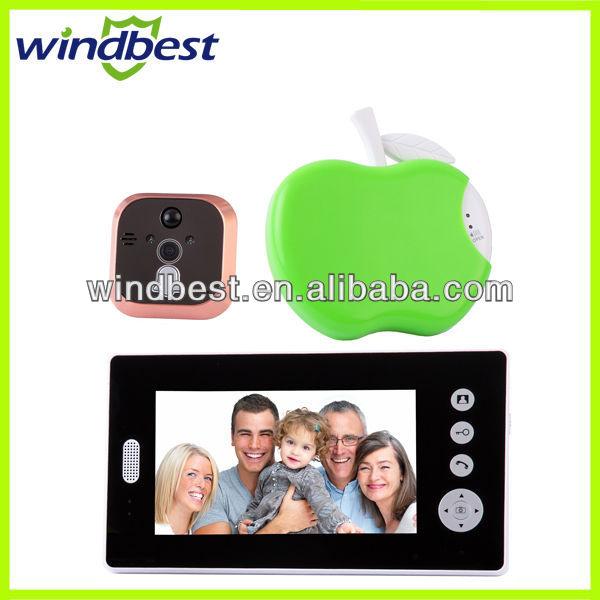 Free Shipping Peep hole Peephole 2.4GHz Wireless 7'' LCD Monitor Video Door Phone Doorphone Intercom Take Photos Unlock Door(China (Mainland))