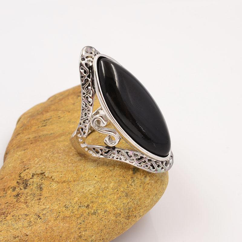 Гаджет  New vintage accessories jewelry silver plated black stone huge finger ring for women girl nice gift R1514 None Ювелирные изделия и часы
