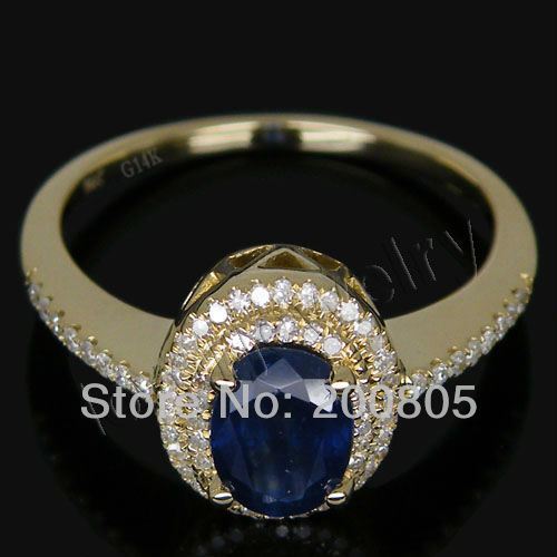 Vintage Oval 5x7mm Solid 14Kt Yellow Gold Diamond Sapphire Ring R0014(China (Mainland))