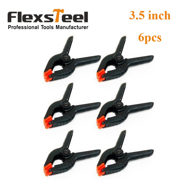 Top Quality! DIY Tools 6PCS 3.5 Inch Black Plastic Nylon Spring Clamps Set for Paper Photo Backdrop Background Woodworking(China (Mainland))