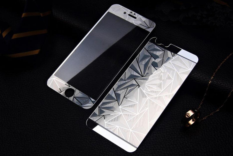 Front+Back 3D Diamond Mirror Color Tempered Glass Screen Protector  for Iphone 4 4S 5 5S 5SE 6 6S plus Case Protective Film