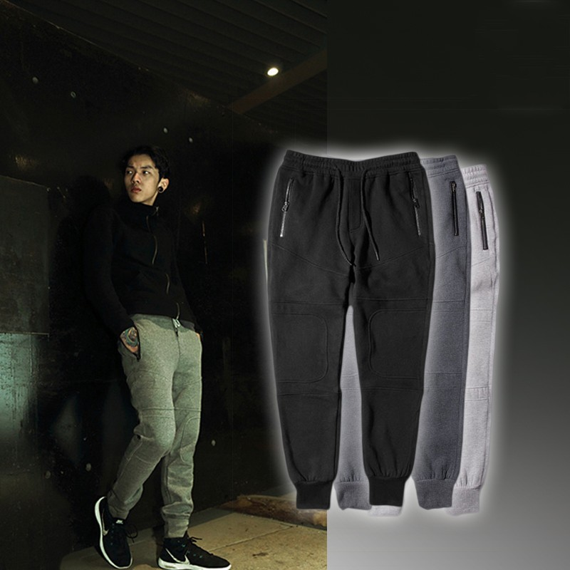 Fleece sweatpants Jogger pants casual men trousers plain patch skinny cotton mens Harem sportswear outdoor ankle-tied - MAZ high-end clothing store