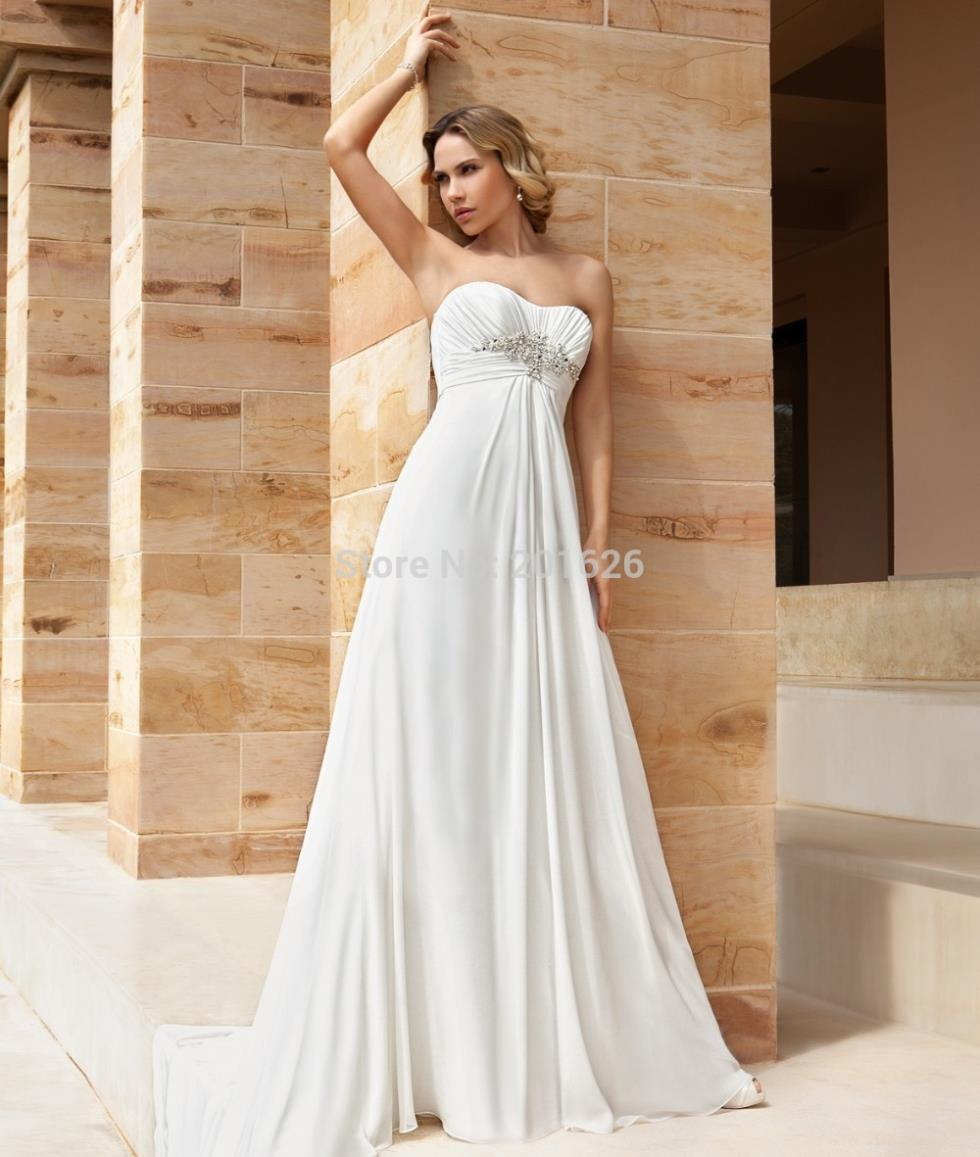Simple and decent beach wedding dress with romantic for Beading for wedding dresses