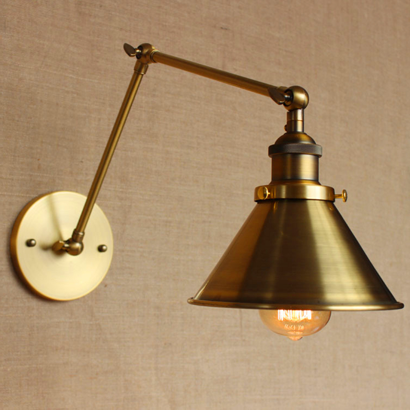 LOFT Nordic Vintage Wall Lamp Classic gold Art Sconce Decorative Light Adjustable head LED 2 Swing Arm Wall Lights reading<br><br>Aliexpress