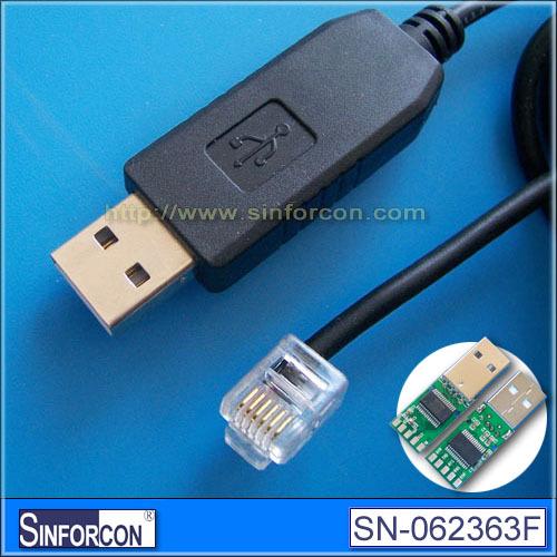 USB serial RJ11 6P6C, FT232RL+ZT213 USB RS232 RJ11 cable for click CPUs(China (Mainland))