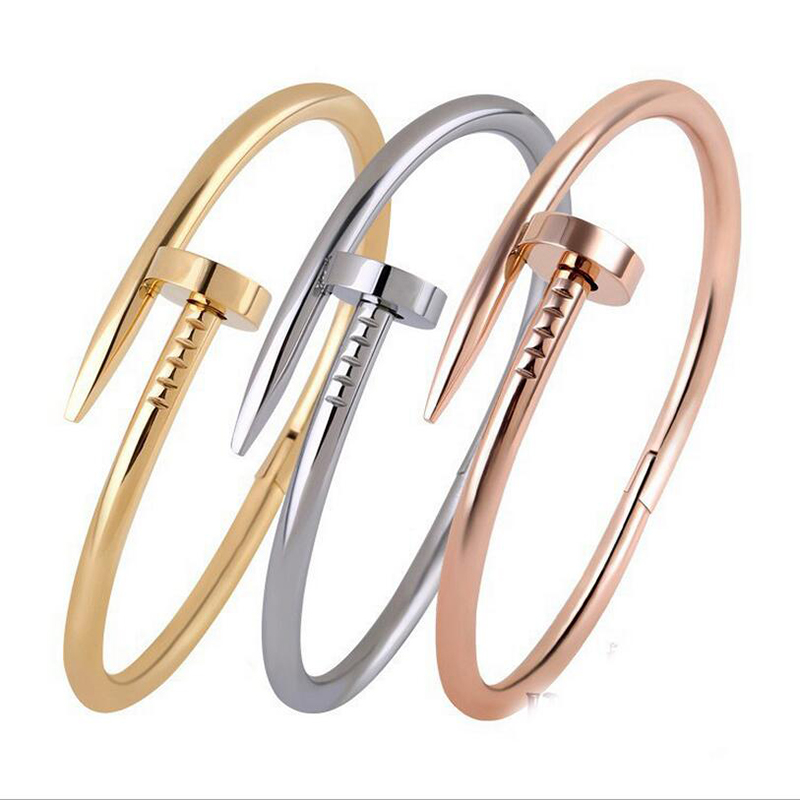 Screws Nail Cuff Bangles Copper Love Bracelets for Women Silver Rose Gold Black Jewelry Stainless Screws Fashion 4 Color 2017(China (Mainland))
