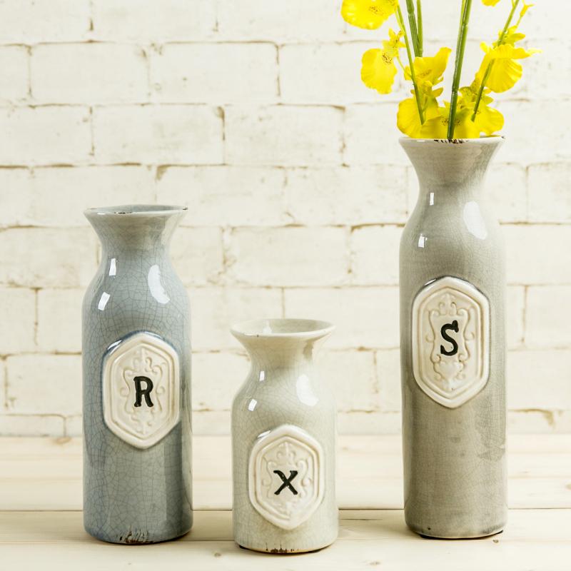 European Style Ceramic Vase Decorations Ice Crack Small