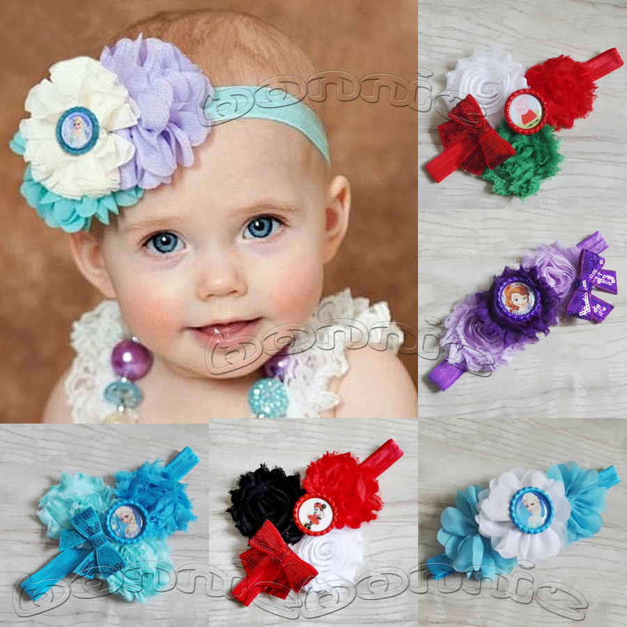 10pcs/lot inspired Anna&Elsa bottle cap flower headbands for baby girls gift 45 designs can mix different designs(China (Mainland))