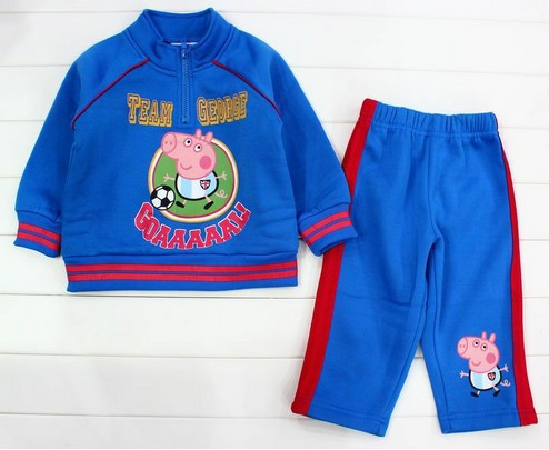 Free shipping kids boys high quality nice good tracksuits tracksuit blue cotton jumper top pants suits outfits outwear football(China (Mainland))