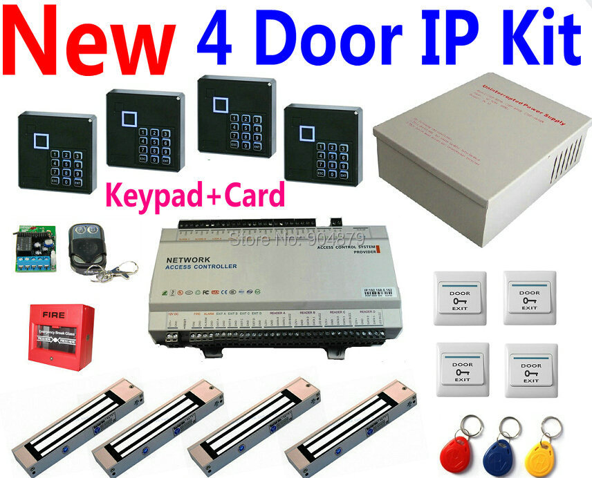 4 Door Access Controller Panel Kits+4 pcs Keypad/ID card readers+UPS Power supply+4 pcs Magnetic lock+4 exit button+Web IP Contr<br><br>Aliexpress