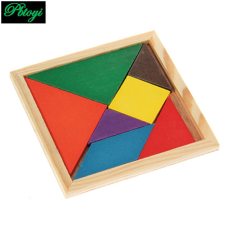 Interest wooden jigsaw puzzle kids intellectual development toys factory direct tangram for children holidays gifts TOY001(China (Mainland))