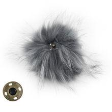 12 pcs Faux Raccoon Fur 11 cm Fofo Bola Pom pom com Pressione o Botão para Acessórios Chapéu Gorro Mulheres Keychain saco de mão Encantos(China)