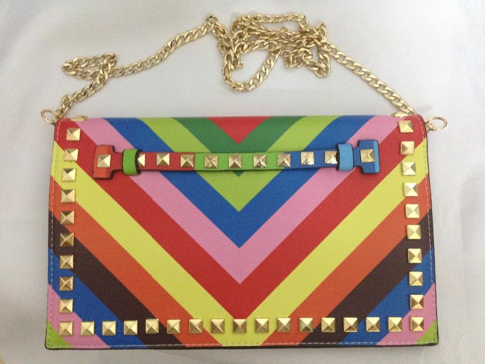 New women handbags European and American day clutch bag small size women shoulder bag rainbow color messenger bag <br><br>Aliexpress