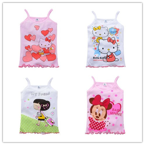 2 5Y New 2015 Girls Tanks Children Vest Beach Clothing Baby Girl Summer Wear Tops Cotton