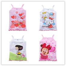 2-5Y New 2015 Girls Tanks Children Vest Beach Clothing Baby Girl Summer Wear Tops Cotton Sleeveless Cool  Good  Quality(China (Mainland))