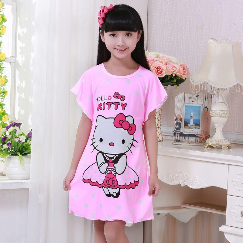 Children Nightgown Hello Kitty Girls Nightgown Cartoon Kids Sleepwear Princess Pajama Nightdress Cotton Baby Teenage Night Dress(China (Mainland))