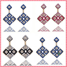 2015 New arrive women's drop earrings Bohemia Retro Elegant Fashion Earring Square Hollow with Beads Earrings Earrings (#ER077)(China (Mainland))