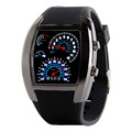 2016 Top Brand Fashion Mens Womens Aviation Turbo Dial Flash LED Watch Gift Sports Car Meter
