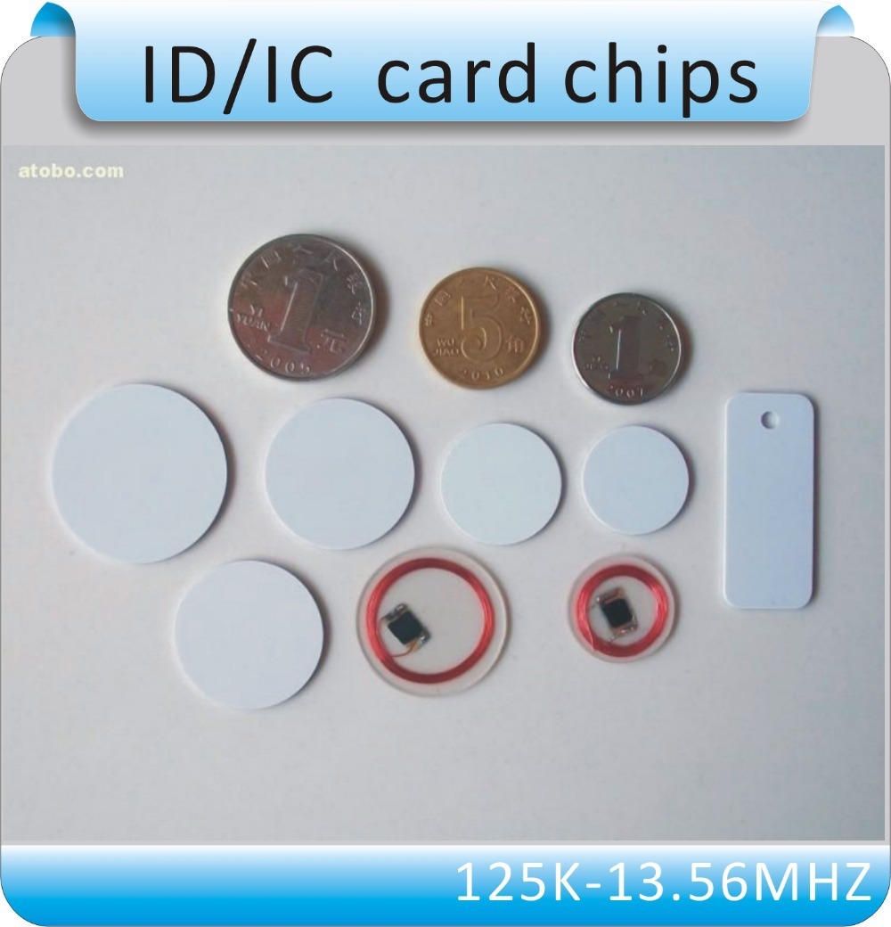 100pcs Free shipping coin style TK4100 chip smart card chip/125KHZ RFID coil card/RFID tags/ white 20mm/25mm/30mm(China (Mainland))