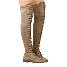Seksi dantel Up diz çizmeler üzerinde kadınlar roma tarzı çizmeler kadın Flats ayakkabı kadın süet uzun çizmeler Botas kış uyluk yüksek çizmeler 35-43(China)