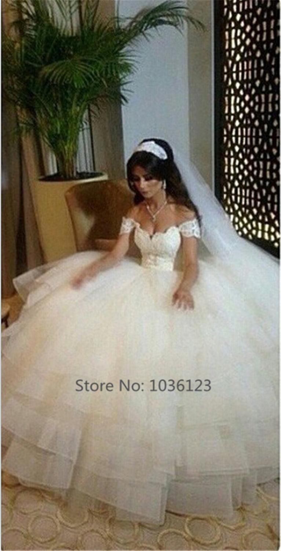 Vestidos de noiva New Wedding Bridal Gowns Off Shoulder Sweetheart Lace Appliques Ball Gown Tiers Floor