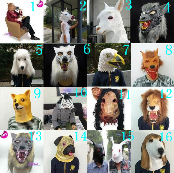 Cheap Halloween mask cosplay custome animal full face mask Creepy Unicorn Head Latex Mask horse dog pig eagle wolf sheep mask