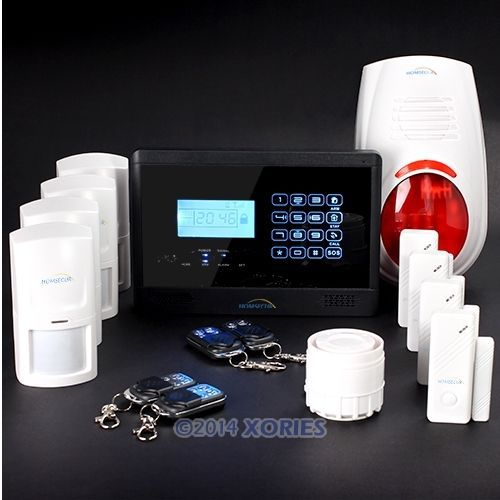 Support English, Spanish and French Voice HOMSECUR LCD Wireless&wired GSM Home Security Alarm System+Outdoor Flash Siren(China (Mainland))