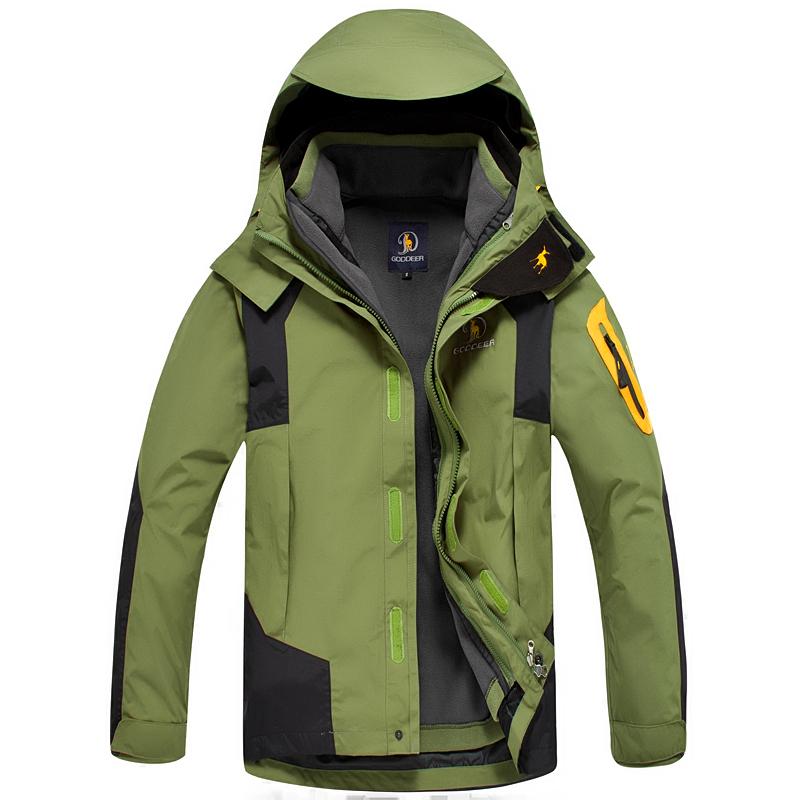 Dropshipping Hiking Jacket double layer winter Sportswear windbreaker outerwear coats waterproof breathable outdoor jacket men(China (Mainland))